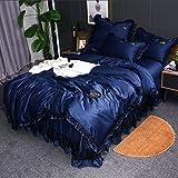 Bedding-LZ bettbezug 220 x 240,Frühjahr und Sommer Wasserwaschsimulation Seide vierteilige Bett Rock Spitze EIS Seide Doppeldecke-E_1,5 m (4 Stück)