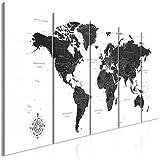 decomonkey Bilder Weltkarte 200x80 cm 5 Teilig Leinwandbilder Bild auf Leinwand Wandbild Kunstdruck Wanddeko Wand Wohnzimmer Wanddekoration Deko Landkarte Kontinente schwarz weiß