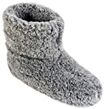 Estro Herren Damen Hausschuhe Reine Wollhausschuhe - Hüttenschuhe Stiefel Warm Winter Wolle Warme Winterhausschuhe Schafswolle Mit Fell Schafwolle OLE (41 EU, Graphit)