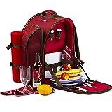 Apollowalker, roter Picknickrucksack für 2Personen, Korb mit Kühltasche, inkl. Geschirr und Fleece-Deck
