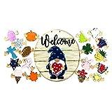 GNOME Türhänger Saisonale Willkommensschild mit austauschbaren Feiertagsstücken für Haustür Veranda hängen handgefertigt, GNOME Garten Terrasse Haus Dekoration (E)