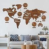 3D Holz Weltkarte mit Uhren Set Braun in Mahagoni Optik 190x120 cm MDF Weltzeituhren Wanduhren Holzbild Kontinente Länder Boho Deko Wohnzimmer