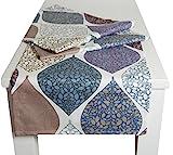 """beties """"Momente"""" Tischläufer ca. 40x150 cm Tischband in interessanter Größenauswahl hochwertig & angenehm 100% Baumwolle Farbe (Hortensie)"""