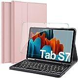 IVSO Samsung Galaxy Tab S7 Tastatur Hülle mit Panzerglas, [QWERTZ Deutsches], Schutzhülle mit abnehmbar Bluetooth Beleuchtete Tastatur für Samsung Galaxy Tab S7 (SM-T870/875) 11 Zoll 2020, Roseg