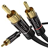 KabelDirekt – Cinch Audio Y-Kabel – 3m (Koaxialkabel geeignet für Verstärker, Stereoanlangen, HiFi Anlagen & andere Geräte mit Cinch Anschluss, 1 Cinch zu 2 Cinch)