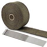 LIHAO Hitzeschutzband Basaltfaser Auspuffband 10M mit Kabelbinder für Fächerkrümmer Thermoband Krümmerband