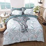 Sleepdown Elefanten-Mandala, wendbar, Bettbezug-Set, pflegeleicht, antiallergisch, weich und glatt, mit Kissenbezügen (Einzelbett)