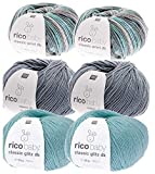 Woll-Paket, Woll Set Babywolle Rico Baby Classic-Print-Glitz 6x50g, weiche und tolle Wolle zzum Häkeln und Stricken, Strickset, Häkelsetum häkeln und stricken