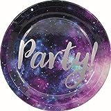 Procos 90452 - Partyteller Galaxy Party, 8 Stück, Durchmesser 23 cm, Pappteller, Teller, Einweggeschirr, Party, Tischdekoration, Weltall