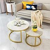 NMDCDH Tische 2er-Set - Runder Couchtisch/gestapelter Satztisch - für kleine Räume Wohnzimmer Büro und Schlafzimmer - Weiße Marmorplatte - Gold Eisenbasis Robust