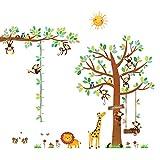 Decowall DA-1401P1402 8 Affen Groß Baum Zweig Höhentabelle Waldtiere Tiere Wandtattoo Wandsticker Wandaufkleber Wanddeko für Wohnzimmer S