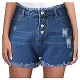 GANBADIE Damen Jeans-Shorts, lässig, konisch, für Damen, kurze Jeans mit Taschen, Mini Hot Shorts Gr. l, blau