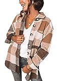 YMING Frauen Karierte Bluse Langarm Casual Karo Hemdbluse Boyfriend Button-down Blusenshirt mit zufällige Holzfällerjacke Kaffee 3XL
