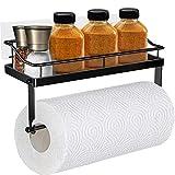 Oriware Küchenrollenhalter mit Regal Küchenrollenspender Wand Küchenpapierhalter Papierrollenhalter Küchen Badezimmer Aufbewahrung Ohne Bohren Edelstahl Matt - Schwarz