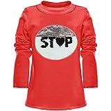 BEZLIT Mädchen Wende-Pailletten Long Shirt Bluse Langarm Sweat Shirt 21008 Rot Größe 104