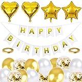 Geburtstag Dekoration Gold Set,Happy Birthday Girlande,Geburtstagdeko Gold Partydekoration,Birthday Deko mit Folienballons Latex Luftballons