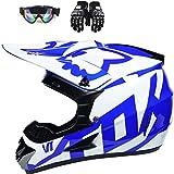 ruixin Motocross-Helm, MX-Helm, Motorradhelm, ATV, mit Brille/Maske/Handschuhe,für Crossbike ATV Enduro Motorradhelm, Größe M