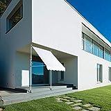 Mothinessto Einfach zu montierende Garten-Schatten-Fenster-Markise wetterfest 2,0 x 1,2 m höhenverstellbar für Hofgarten und Haus(Beige, White)