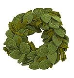Handgefilzter Wollkranz – grüne Blätter mit Stickerei – 35,6 cm
