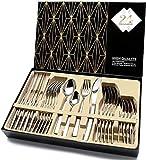 Elegant Life Silber besteck Set, 24-teilige Besteck Set, aus Japan-Edelstahl Hochwertige Spiegelpolierte Besteck-Sets, Mehrzweckgebrauch für Haus, Küche, Besteck Sets mit Geschenkbox für 6 Personen