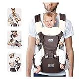 SIMBR Babytrage Ergonomisch Mit Sitz für Die Hüfte, 12 Positionen,100% Baumwolle, Multifunktional, Sicher und Komfortabel, für Neugeborene und Kinder von 3,5 Bis 18 Kg