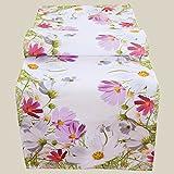 Kamaca Serie FRÜHLINGSZAUBER hochwertiges Druck-Motiv mit Blumen EIN Eyecatcher in Frühling Sommer (Tischläufer 140x40cm)