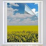 XtraCare Spiegelfolie Selbstklebend Fensterfolie Innen Sonnenschutzfolie für Wärmeisolierung, 99% UV-Schutz und Sichtschutz Silber 60 x 400