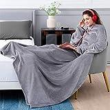 BEDSURE Ärmeldecke Hellgrau Kuscheldecke mit Ärmeln 170x200 cm, Sweatshirt Decke Ärmel zum Anziehen Erwachsene, Ganzkörperdecke mit Ärmel tragbar extra weich als TV Decke