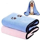 Legendog Hundehandtuch, 2 Stück Haustier Badetuch Großer Weich Microfiber Schnelltrocknend Warm Handtücher für Hunde mit Badebürste Haustierhandtuch für Hunde Katzen 90 * 50cm