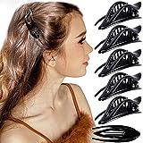 RC ROCHE 6 Stück Haarspange Haarklammer Französisch Geschwungen für Damen Mädchen Fester Halt Ohne Rutschen Hochwertig Haare Hochstecken, Small Schwarz