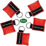ZMDHL 5 Stücke CPR Mask Gesichtsmaske,Hilfe für Oder AED Training,CPR Maske Schlüsselanhänger,Pocket mask leicht zu transportieren,mit Rückschlagventil Atmen Barriere.(rot)
