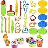 NATUCE 26 Stück Knetwerkzeug Knete Zubehör, Knete Zubehör Playdoh, Knetwerkzeug Teig Plastilin Werkzeug für Kleinkinder Kinder
