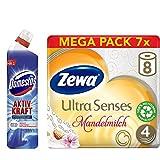 Domestos und Zewa Set (8er Pack) mit WC Gel (1 x 750 ml) und Toilettenpapier trocken Ultra Senses Riesenpackung (7 x 8 Rollen)