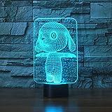 3D Illusion Nachtlicht 7 Farbe Led Vision Schöne Kaninchen Tisch Schreibtisch Neuheit Todestisch 3-in-1-Modus-Taste Party Wohnzimmer Buntes kreatives Geschenk Fernbedienung