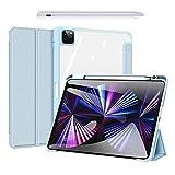 Hülle für iPad Pro 11 2021 & 2020 (3. & 2. Generation) Ultra Slim PC Transparente Hülle Mit Stylus Pen (Palm Rejection),Blau