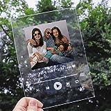 Personalisierte Spotify Glas Kunst Fotorahmen Nachtlicht Einzigartige Liebe Erinnerung Acryl Fotorahmen mit Licht Schlafzimmer Wohnkultur Muttertag Geburtstag Jubiläum Ideen(Acrylplatte)
