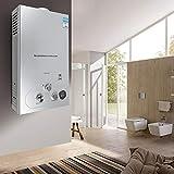 Berkalash 10L Natural Gas Warmwasserspeicher, Durchlauferhitzer Boiler Wassertank, Wandmontage Wasserspeicher mit Duschkopf und LCD Display (1.5V 3,6KW)