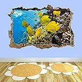 3D Wandtattoo Mauerloch Wandsticker Wandaufkleber Durchbruch selbstklebend Schlafzimmer Wohnzimmer Kinderzimmer,Korallenfische 80x125cm