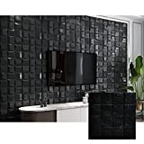 Modern 3D Wandpaneele Selbstklebend Wandverkleidung 3D Tapete Deckenpaneele Platten Paneele, Einzigartig Steinoptik,weicher Schaumstoff, 70x70cm*10Stück,5 Q