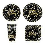 CAKEY 40-teiliges Geschirr-Set aus Pappteller, Becher, Party-Teller, Geschirr-Servietten für Geburtstag, Hochzeit, Jahrestag, Schwarz und Gold