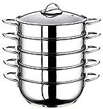 5 Etagen Dampfgarer Manti-Topf 28cm Mantowarka Edelstahl 18/10 Dampfgar-Kochtopf auch für Induktion