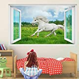 TXCY Wandtattoo Pony Horse Grass Wandaufkleber Wandtattoo Kinderzimmer Home Decor EA6