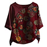 T-Shirt Damen Baumwolle Leinen Kurzarmshirts Plus Size Herbst Tops Button Stitching Druck Oberteile mit 3/4 Ärmeln Loser Tops Bluse, Weinrot-2, 3XL
