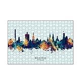 artboxONE-Puzzle M (266 Teile) Städte Bielefeld Skyline BlueOrange - Puzzle Bielefeld bunt City