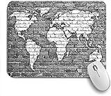 Dekoratives Gaming-Mauspad,Wand Ziegel grau map,Bürocomputer-Mausmatte mit rutschfester Gummibasis