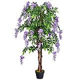 COSTWAY Kunstbaum mit Blüten, Kunstpflanze Zimmerpflanze Kunstblume Dekopflanze künstlich lila