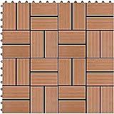 Terrassenfliesen Terrassendielen Balkonfliesen Terrassendielen ineinandergreifendes System 22tlg, für Terrasse, Balkon, Badezimmer oder Pool oder Spa-Bereich 30x30 cm 2m² GCSQF210716(Color:Brown)