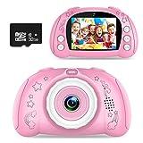 WOWGO Kinder Kamera, Digital Fotokamera Selfie Fotoapparat USB Wiederaufladbarer Videokamera mit 2.4 Zoll Bildschirm/12 Megapixel/1080P HD/Dual Lens/32G TF Karte/Stickers, Geschenk für Kinder