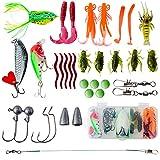 Johiux 35 PCS Angelköder Set,Angelzubehör für Hecht,Zander,Barsch und Forelle,Spoons Forelle,mit Aufbewahrungsbox VIB Wobbler Haken Wirbel Sinker Gummiwürmer usw,Angler Geschenke