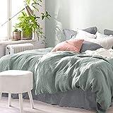 Pure Label Halbleinen Bettwäsche - Set aus Baumwolle und Leinen, Größe:2tlg. 135x200cm + 80x80cm, Farbe:Grün/Salbei